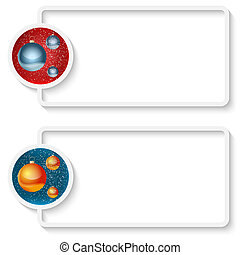 two white abstract text frame with a Christmas balls