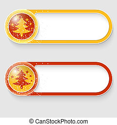 two vector abstract buttons with a Christmas tree