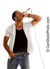 African American Vocalist with Microphone - An African...