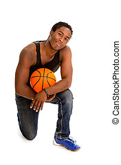 Male Street Basketball Player - Teenage African American Boy...