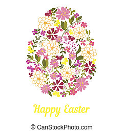 Easter egg from flowers with a text. - Easter egg from...