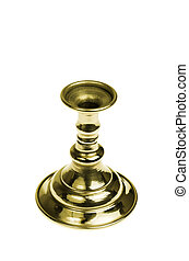 Gold plated candlestick. Isolated - Gold plated candlestick...