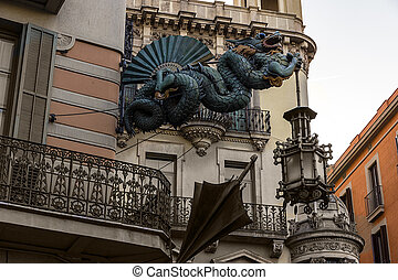 Dragon torch umbrella in the Ramblas, Barcelona - Chinese...
