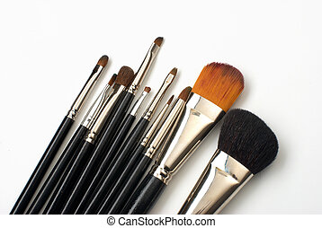 Professional make-up brush set on white
