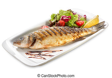 sea bass grilled with salad