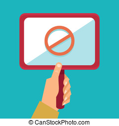 Vector protest concept - hand holding placard with stop sign...