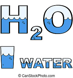 Water H2O - Concept illustration showing a glass of water...