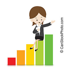 Business woman with growing graph