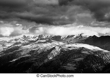 bw view from fiiescheralp - black and white image of swiss...