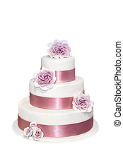Wedding cake with roses isolated on white
