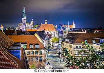 Nuremberg, Germany near the main square at night.