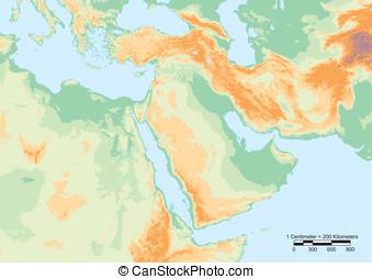 Middle East physical - Physical map of Middle East with...