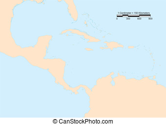 Central America map - Map of Central America with scale....