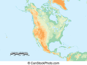 North America physical - Physical map of North America with...