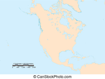 North America - Map of North America with scale. Elements of...