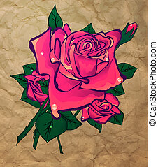 rose on a background paper