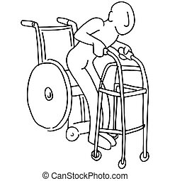 Wheelchair to Walker - An image of a man moving from a...