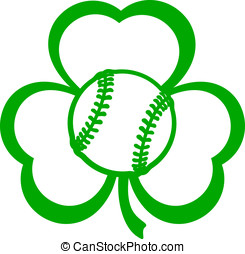 Baseball Softball Three Leaf Clover - For St Patricks Day a...