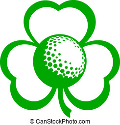 Golf Three Leaf Clover - For St. Patricks Day a green vector...