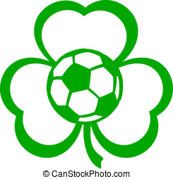 Soccer Football Three Leaf Clover - For St Patricks Day a...