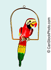 Wooden parrot on a perch.