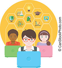 Modern Education by Computer - Conceptual flat illustration...