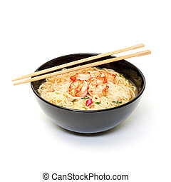 Shrimp and noodle soup bowl with chopsticks on white...