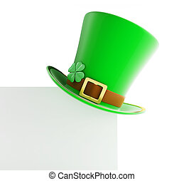 St Patricks day green hat on blank page white background