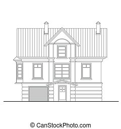 Detailed drawing of small house side facade with masonry...