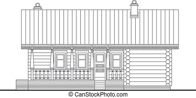 Detailed drawing of wooden sauna building, facade with log...