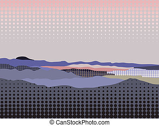 Mountain landscape stylized with halftone effect in violet...