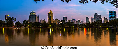 Bangkok city night view - Night scene of Bangkok skyline at...
