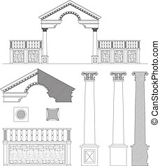 Ionic column, gate and fence set - Drawing of ionic gate,...