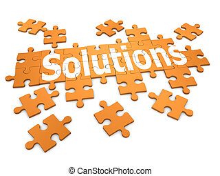 "3d Jigsaw puzzle ""Solutions"" - 3d render of a jigsaw..."