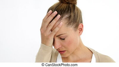 Upset woman thinking about her life on white background