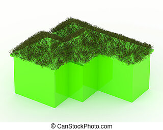 Green house with grass roof