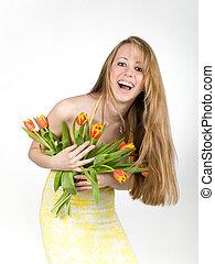 Gliuml;iquest;frac12;ckliches Lachen einer jungen Frau -...