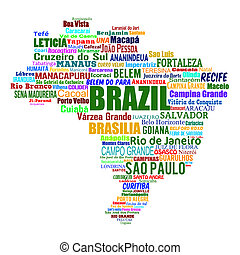 Brazil map and words with larger cities