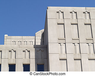 Art Deco - Art deco building detail with walls and windows