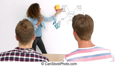 Cheerful female designer giving a presentation in the office