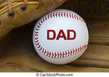 Baseball Card - Dad written on a baseball in glove.