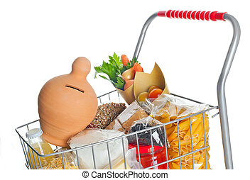 Shopping cart full with money box and food products on white...