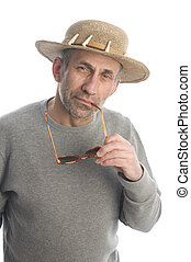 happy middle age senior man with sunglasses - middle age...