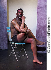 handsome male black african american actor on theater stage...