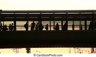 Urban Crowd - People rushing at a station