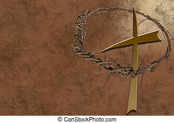 Cross And A Crown - Crown of thorns with a religious cross...