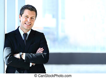 businessman pointing - Handsome businessman pointing his...