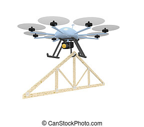 drone roof truss - construction concept with roof truss...
