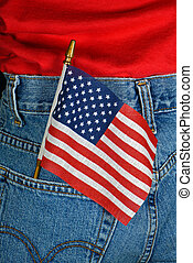 Patriotic Pocket - An American flag in a back jeans pocket.
