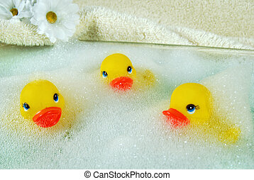 Bubble Bath Fun - Rubber duckies in bubble bath
